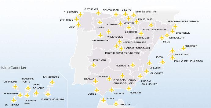Conexiones para viajar a España